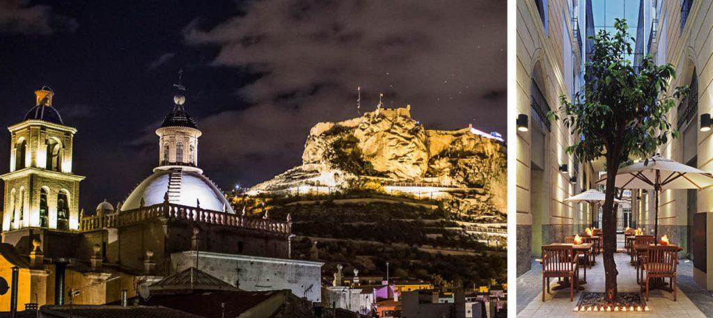 Alicante - Vistas al castillo desde el Hotel Hospes Amérigo y terraza del hotel